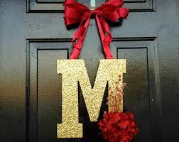 Door Monogram Decoration Monogram Wreath Christmas Wreath Holiday Decoration