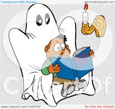 spooky clip art clipart of a cartoon scared black boy reading a book of spooky