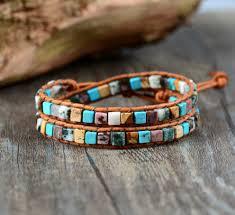 bracelet beaded images Womens boho natural stone beaded vintage wrap bracelet jpg
