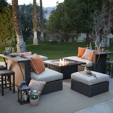 Patio Table With Built In Fire Pit - belham living meridian all weather wicker fire pit conversation