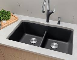 Diamond Double Kitchen Sink In Silgranit Sinks Other Finishes - Double kitchen sink