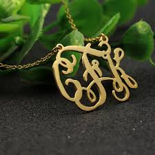 Three Initial Monogram Necklace Nameplate Necklace Customized Promotion Shop For Promotional
