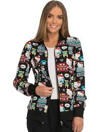 tooniforms hello hello friends scrub jacket