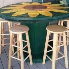 Garden Bar Table And Stools High Bar Top Cable Spool Table By Lecray On Etsy 300 00 Ideas