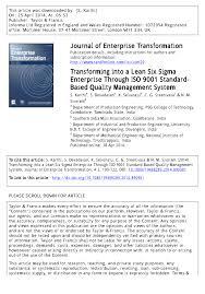 transforming into a lean six sigma enterprise through iso 9001