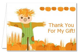 thanksgiving thank you cards pumpkin patch scarecrow fall theme