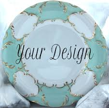 personalized dinner plate 10 5 customizable dinner plate green aqua gold dinnerware