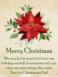 classic poinsettia christmas card for sister birthday u0026 greeting