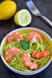 Main Dish With Sauce - zucchini pasta with creamy avocado sauce and shrimps not enough