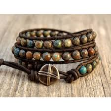 boho wrap boho chic wrap bracelet beaded blue and brown bracel