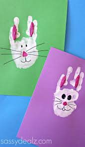 bunny rabbit handprint craft for kids easter idea bunny rabbit