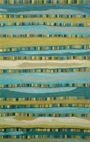 Modern Green Rugs Seville Mosaic Stripe Blue Wool Rugs From Transocean