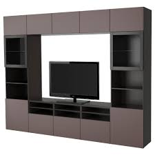 Tv Storage Cabinet Bestå Tv Storage Combination Glass Doors Black Brown Valviken
