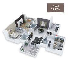 3 Bhk Apartment Floor Plan by Kamalraj Parijat Dighi By Kamalraj Group In Pune