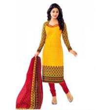 suit dress miraan yellow cotton printed chudidar suit dress material for