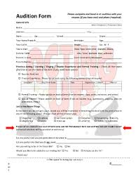 Sample Audition Resume by Sample Of Audition Forms Fill Online Printable Fillable Blank