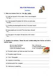 english worksheets relative pronouns