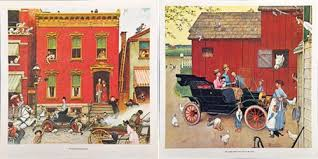 norman rockwell usa early ford motoring prints lot of 2