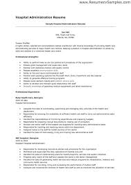 Sample Resume For Hospital Housekeeping Job by Hospital Resume Examples