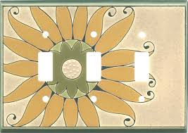 Travertine Switch Plates by Ceramic Switch Plates And Outlet Covers With Golden Sunflower