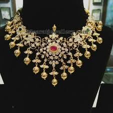 pachi floral necklace with gold balls jewellery designs