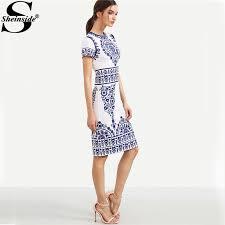 blue print winter dresses women 2016 sheath white elegant vintage
