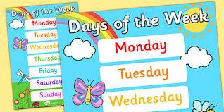 of the week display poster posters displays weeks day