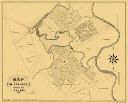 Texas Rivers Map Old City Map New Braunfels Texas Landowner 1868