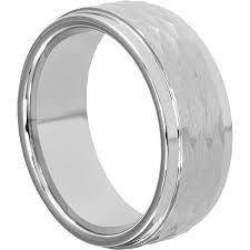 mens hammered wedding bands hammered white tungsten rings from forever metals