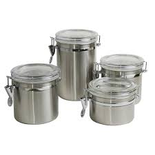 kitchen canister sets stainless steel sweet home collection stainless steel cl 4 piece kitchen canister