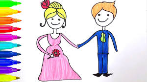 bride and groom coloring page learn colors for kids how to draw groom and bride coloring page