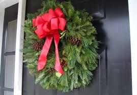 decorations lush fir wreath front door christmas decor alongside