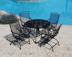 Wrought Iron Patio Dining Set Backyard Creations Wrought Iron 5 Dining Patio Set At Menards