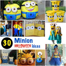 a lot of halloween costumes minion halloween costumes pumpkin treat bags and decoration