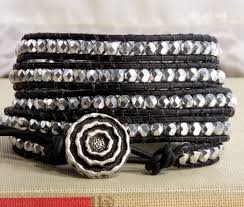 silver leather wrap bracelet images Black and silver leather wrap bracelet jpg