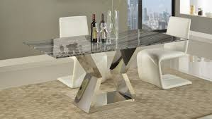 grigio 71 inch marble dining table with polished stainless steel