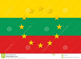 Gold Star Flag Lithuania National Flag With A Star Circle Of Eu Stock Vector