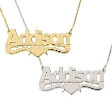 cheap name necklace name necklace with heart