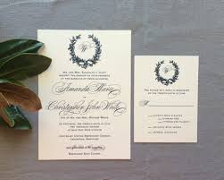monogram wedding invitations sle magnolia wreath and monogram wedding invitation with navy