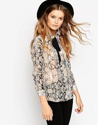 snake print blouse asos asos contrast tie snake print blouse