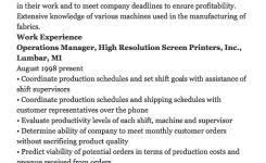 Manufacturing Supervisor Resume Sample Apology Letter Resumedoc