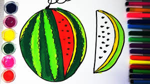 how to draw watermelon coloring pages fruit kids learn drawing art