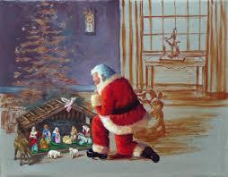 santa kneeling at the manger salazar dickerson 2011