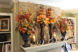 decorations country house fireplace mantel thanksgiving