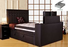 Ottoman Base by Sparkle Divan Tv Bed Black Super King Size 6ft Platform Top