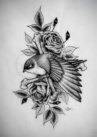 heart and flowers tattoo traditional uncolored old bird with heart and flowers