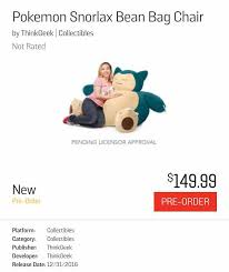 Pokemon Snorlax Bean Bag Chair Snorlax Bean Bag Chair Pkmncollectors