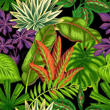 tropical wrapping paper seamless pattern with tropical plants and leaves background made