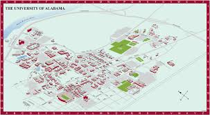 University Of Michigan Campus Map by University Of Alabama Campus Map Tuscaloosa Alabama Countries