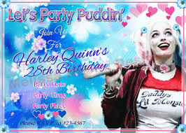harley quinn party invitation digital file customized party